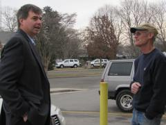 JULIE LANE PHOTO | Democrat Al Krupski sought Charles Field's vote at the Post Office Wednesday morning.